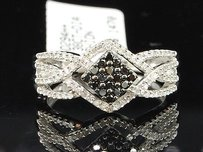 Ladies 10k White Gold 0.38 Ct. Black Diamond Engagement Ring Designer Bridal Set
