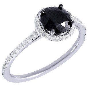 Black Diamond Solitaire Engagement Ring 14k White Gold Round Cut Halo 1.40 Ct