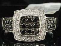 Ladies 10k White Gold .50ct. Round Cut Black Diamond Engagement Ring Wedding Set