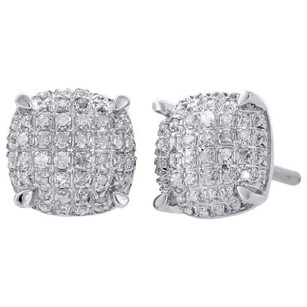 Other 925 Sterling Silver Diamond Studs 9mm Squircle Prong Pave 3d Earrings 0.33 Ct.
