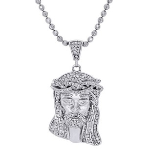 Jewelry For Less 925 Sterling Silver Mens Diamond Mini Jesus Face Pendant Charm Chain Set 1.40