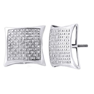 Jewelry For Less .925 Sterling Silver Round Pave Diamond Kite Stud Earrings 0.35 Ct.
