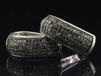 Black Diamond Huggie Hoops Ladies .925 Sterling Silver Round Earrings 0.48 Tcw