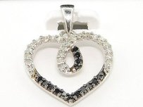 Jewelry For Less Black Diamond Pendant Ladies .925 Sterling Silver White Finish Heart Love Charm