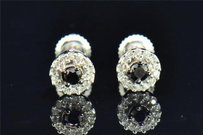 Jewelry For Less Black Diamond Solitaire Flower Studs Earrings Round Cut 10k White Gold 0.20 Ct