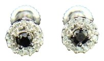 Black Diamond Solitaire Flower Studs Earrings Round Cut 10k White Gold 0.20 Ct