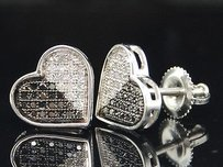 Jewelry For Less Black White Diamond Heart Earrings Ladies 10k White Gold Pave Studs 0.45 Ctw.