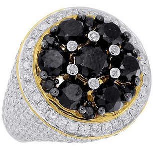 Jewelry For Less Black White Diamond Pinky Ring Mens 10k Yellow Gold Round Cut Ct.