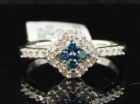 Jewelry For Less Blue Diamond Fashion Ring 10k White Gold Round Pave Star Cocktail Band 0.40 Tcw.