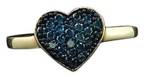 Blue Diamond Heart Cocktail Ring 10k Yellow Gold Love Fashion Band 0.30 Ct.