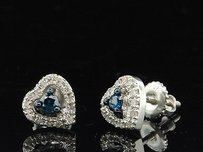 Jewelry For Less Blue Diamond Heart Studs 10k White Gold Round Cut Pave Love Earrings 0.21 Tcw.