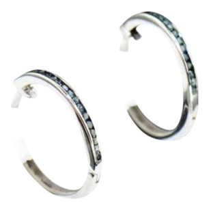 Other Blue Diamond Round Hoops Earrings 10k White Gold 0.10 Ct