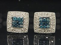 Jewelry For Less Blue Diamond Studs 10k White Gold Round Cut Pave Square Earrings 0.36 Tcw.