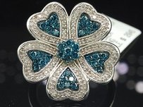 Jewelry For Less Blue Flower Diamond Cocktail Ring 10k White Gold Round Cut Fashion 095 Ct.