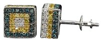 Blue Yellow Diamond 3d Cube Earrings 10k White Gold Round Pave Studs 1.43 Tcw.