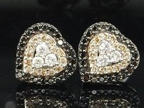 Brown Black Diamond Heart Earrings Ladies 14k White Gold Round Studs 12 Tcw.