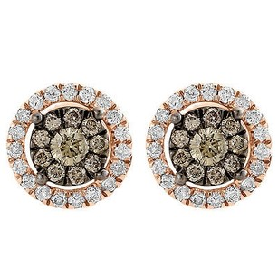 Brown Diamond Solitaire Earrings 14k Rose Gold Round Ladies Studs 0.72 Tcw.