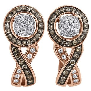 Jewelry For Less Brown Diamond Solitaire Earrings Ladies 10k Rose Gold Round Cut Huggies .40 Tcw.