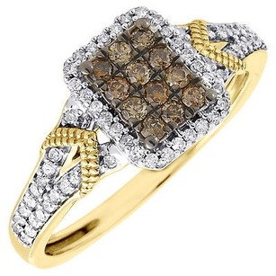 Other Brown Diamond Square Right Hand Band 10k Yellow Gold Round Cocktail Ring 0.33 Ct