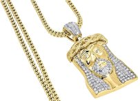 Diamond,Jesus,Face,Pendant,10k,Yellow,Gold,Solid,Charm,W,Franco,Chain,1,Ct.