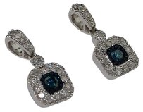 Ladies,10k,White,Gold,.66,Ct,Blue,Diamond,Dangler,Earrings,Hoops,Studs
