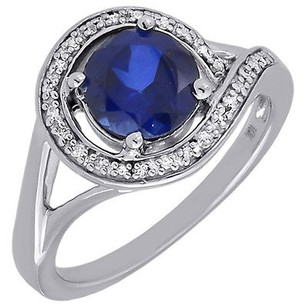 Diamond 10k White Gold Created Blue Sapphire Fashion Cocktail Ring 1.92 Tcw.