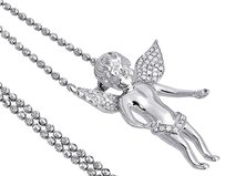 Other Diamond Angel Pendant 10k White Gold Round Pave Charm Chain Set 0.50 Ct.