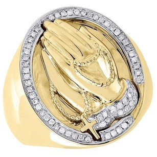 Jewelry For Less Diamond Angel Pinky Ring Mens 10k Yellow Gold Brushed Round Pave Set 0.30 Tcw.