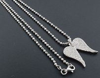 Diamond Angel Wings Pendant .925 Sterling Silver Ladies Charm 0.40 Ct. W Chain