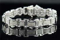 Other Diamond Bracelet Mens .925 Sterling Silver Round Cut Pave Link 1.38 Tcw.