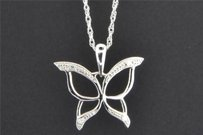Jewelry For Less Diamond Butterfly Pendant .925 Sterling Silver White Finish 0.03 Ct Charm