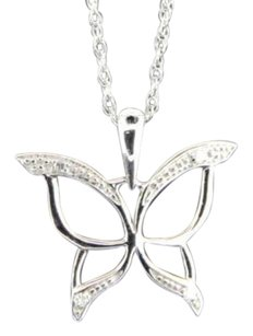Diamond Butterfly Pendant .925 Sterling Silver White Finish 0.03 Ct Charm