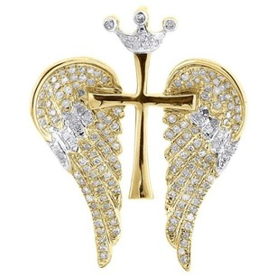 Jewelry For Less Diamond Cross Wings Pendant Mens 10k Yellow Gold Round Pave Crown Charm 0.38 Tcw