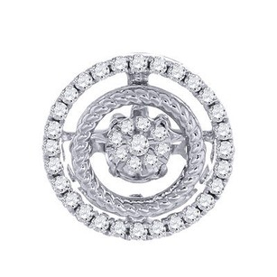 Diamond Dancing Twinkle Pendant Ladies 10k White Gold Round Charm 0.19 Ct.