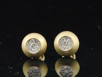 Other Diamond Domed Brushed Finish Earrings 10k Yellow Gold Round Pave Studs 14 Tcw.