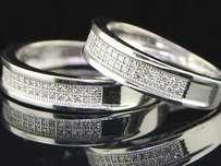 Jewelry For Less Diamond Duo Set Mens Ladies Wedding Bands Dual Engagement Ring 0.35 Ct