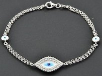 Jewelry For Less Diamond Evil Eye Bracelet Inch 14k White Gold Double Strand Rolo Link 0.30 Ct.