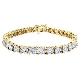 Jewelry For Less Diamond Fashion Tennis Bracelet Round Cut Solitaire Look 14k Yellow Gold 3.78 Ct