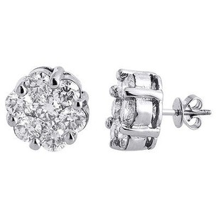 Jewelry For Less Diamond Flower Stud Earrings 14k White Gold Mens Ladies 13mm Solitaire Ct.