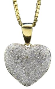 Other Diamond Heart Pendant 10k Yellow Gold 0.75 Ct Round Cut Love Charm With Chain