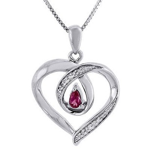 Jewelry For Less Diamond Heart Pendant Charm .925 Sterling Silver Created Ruby With Chain 0.24 Ct