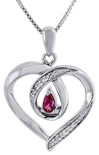 Other Diamond Heart Pendant Charm .925 Sterling Silver Created Ruby With Chain 0.24 Ct