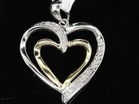 Jewelry For Less Diamond Heart Pendant Ladies 10k Two Tone Gold Round Pave Love Charm 0.10 Tcw.