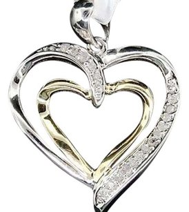 Diamond Heart Pendant Ladies 10k Two Tone Gold Round Pave Love Charm 0.10 Tcw.