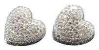 Other Diamond Heart Studs 10k White Gold Round Cut 0.90 Ct Love Earrings