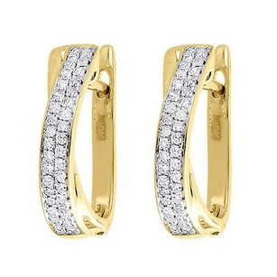 Jewelry For Less Diamond Hoop Earrings Ladies 10k Yellow Gold Round Pave Huggies 0.17 Tcw.