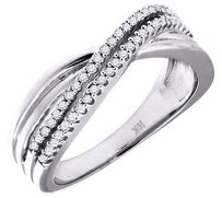 Jewelry For Less Diamond Infinity Style Wedding Band 10k White Gold Round Cut Ladies Ring 0.20 Ct