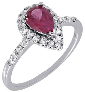 Other Diamond Ladies 10k White Gold Created Ruby Pear Fashion Cocktail Ring 1.23 Tcw.