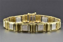 Jewelry For Less Diamond Link Bracelet Round Cut Pave Design 10k Yellow Gold 1.22 Ct Inch