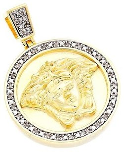 Diamond Mini Medusa Head Piece Greek Pendant .925 Yellow Finish Charm 0.20 Ct.